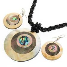 """2"""" MOTHER OF PEARL PAUA ABALONE BLACK BEADED necklace & earring SET"""
