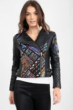 a23f2e9f3f8 Ladies Leather Biker jacket with Fabric hand made panels Sizes 8 to 16