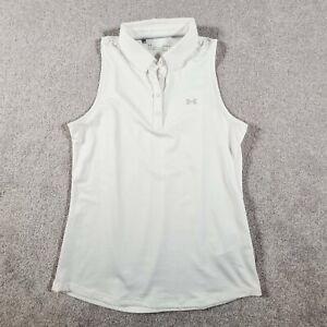 UNDER ARMOUR Womens White Sleeveless Golf Tennis Top Size Medium