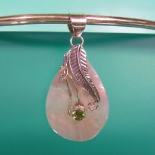 "1 3/4"" Mother of Pearl Peridot Teardrop 925 Sterling Silver Pendant Leaf Design"
