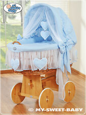 My Sweet Baby - Hearts Wicker Crib Moses Basket - Blue