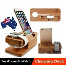 AU Bamboo Wood Charging Dock Stand Holder For iWatch Apple Watch & Apple iPhone