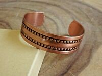 Pure Copper Arthritis Bracelet - Solid Copper Adjustable Cuff - Long Double Row