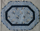 Handcrafted Quilted Table Runner Topper- WINTER SNOWMAN SNOWFLAKE BLUE