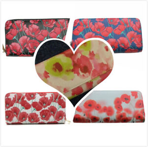 Womens Poppy Flowers Purse Girls Zip Around Wallet Multi  Compartments Card Gift