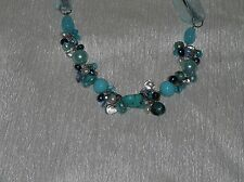 Estate Light Blue Faux Pearl Turquoise Nugget Cluster Bead Silk Ribbon Necklace