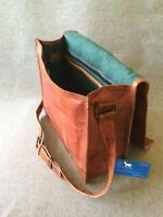 "Handmade Goat Leather 15"" FL Laptop Flap Bag Padded Billy Goat Designs Satchel"