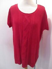 HENRI LLOYD M COTTON MIX RASPBERRY RED CAP SLEEVE JUMPER TOP CABLE KNIT OVERSIZE