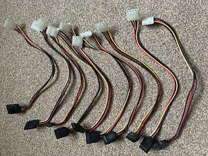10x 0.32m SATA Female to 4 Pin Female IDE Molex Power Adapter SATA Cables