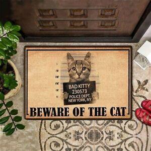BEWARE OF THE CAT Funny Welcome Mat Cat Printed Front Door Mat Cat Lover Gift