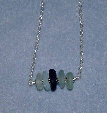 """18"""" Minimalist Bali Sterling Silver Surf Tumbled Cobalt Teal Sea Glass Necklace"""