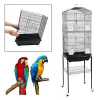 Large Metal Parrot Aviary Bird Open Top Cage Wheels Perch Slide-Out Tray 150cm