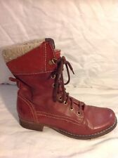 Lasocki Red Ankle Leather Boots Size 36
