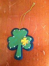 vintage flexible plastic shamrock Christmas ornament St. Patrick's Day Saint OOP