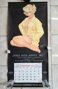 1971 Jones Auto Supply Spokane WA Pinup Girl Calendar Gas Oil Piston Ring Sign