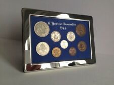 More details for 76th birthday gift. a superb 1945, silver framed, coin year set - gift boxed