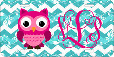 MONOGRAMMED LICENSE PLATE CUSTOM CAR TAG PINK OWL BLUE CHEVRON