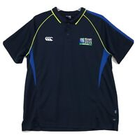 Canterbury RUGBY World Collection 2015 Polo Shirt Mens XXL 2XL Blue 3 Btn Collar