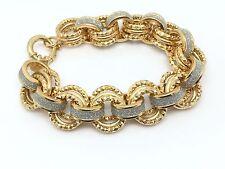 "Milor Two Tone Diamond Cut Silver Gold Layered Women's Bracelet 8"" 15mm 42.3G"
