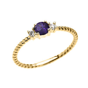 14k Yellow Gold Dainty Solitaire Amethyst & White Topaz Rope Stackable Ring