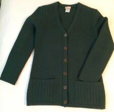 ITALY Authentic GUCCI Green WOOL Red Enamel LOGO BUTTONS Coat CARDIGAN Sweater S