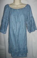 St. Johns y blue eyelet lined on/off shoulder cotton A-line dress medium NWT