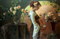 """Hand painted art Oil painting portrait Young lady with roses flowers canvas 36"""""""