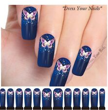 Water Decals - Butterfly Nail Wrap Sticker Transfer Blue DIY Nail Stickers UK