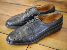 Vtg FLORSHEIM IMPERIAL Black LEATHER Oxford Brogues V-CLEAT WINGTIPS USA 9.5 A