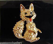 Fox Brooch - Gold with Diamante Collar & Bushy Tail - Fashion Jewellery