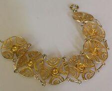Vintage 833kt Gold & Sterling Filegree Flower  Bracelet