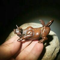 Antique Tea Pet Collectible Pure Solid Copper bull Ox Handwork Chinese Statue