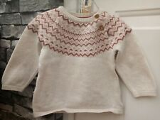 4-6 Month Baby Fair Isle Knit Jumper Stone