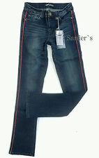 ARIZONA Jeans 34 Stretch Straight Gerade Blau Used Waschung Denim Rot Paspel NEU