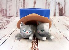 """Kittens in a hat"" cat silicone mold for soap and candles making mould molds"