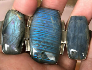JAY KING Labradorite Hinged Cuff Bracelet, Sterling Silver 51g