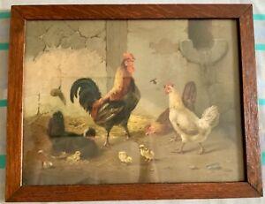 Fine 1890's Oak Frame Chicken Chromolithograph Print NR!