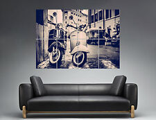 Vespa Scooter Cityscape Town B&W Wall Art Poster Grand format A0
