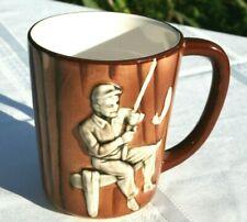 Vintage Fisherman Fishing Mug Fine Ceramic Made in Japan