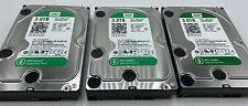 Lot of 3 Western Digital Green 3 TB SATA 64 MB cache 6 GB/s WD30EZRX-00D8PB0