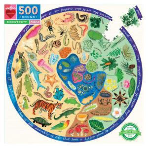 eeBoo 500 Pc Round Puzzle – Biodiversity Family Puzzle 01548