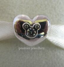 Authentic Genuine Pandora Silver Disney Heart of Mickey Charm 791453CZ