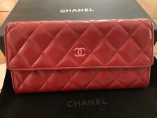 Authentic Chanel Red Lambskin Quilted Leather Wallet