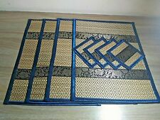 Thai ELEPHANT Reed Silk Plate Mat ,Handmade , 8pcs Dining Table Gift, Home decor
