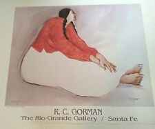"""RC GORMAN SIGNED Poster, """"WOMAN WITH BRAIDS"""" 1990  Size is 25"""" X 28"""""""