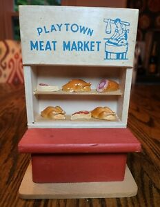 Vintage PlayTown Meat Market  1947 Rare with Meats Lot Wooden Toy