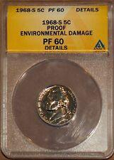 1968-S 5C Jefferson Head Nickel PF 60 Details ANACS 4528566 + Bonus