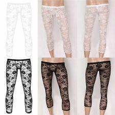 Mens See Through Lace Long Johns Underwear Bottom Pants Stretchy Legging Pajamas