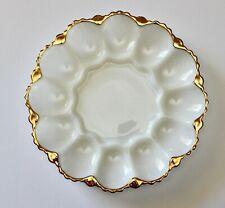 Vintage Deviled Egg Milk Glass Plate + Gold Rim - Anchor Hocking - GVC