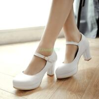 Womens Round Toe Mary Jane Ankle Strap Buckle Platform Block High Heels Shoes